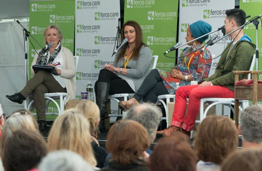 Session chair Jane Caro and panellists, Rabia Siddique, Tasneem Chopra and Benjamin Law. Photo: Greg Saunders
