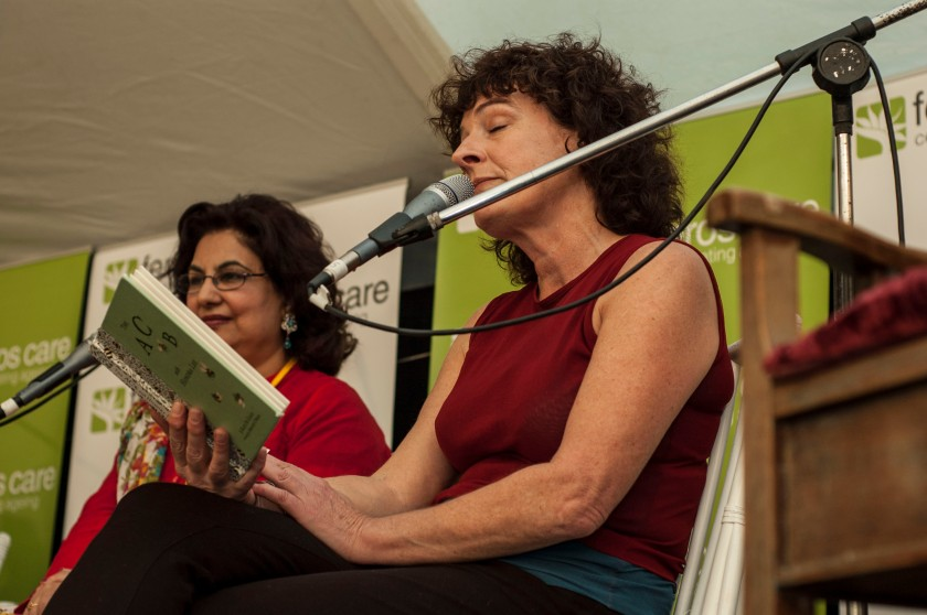 Kate De Goldi reading from ACB with Honora Lee. Photo: Cath Piltz