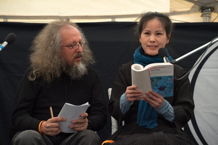 Sheng Keyi with translator Martin Merz, at Byron Bay Writers Festival 2015.