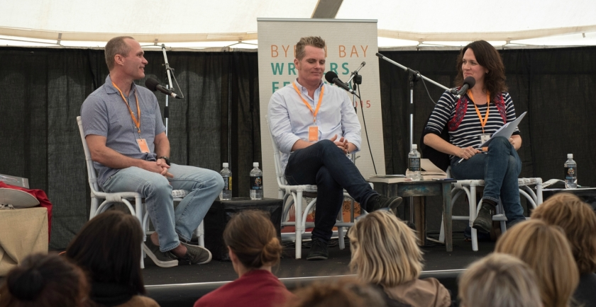 The Forgiveness panel: David Vann, James Bradley and Sarah Armstrong at 2015 Byron Bay Writers Festival. Photo: Kalem Horn